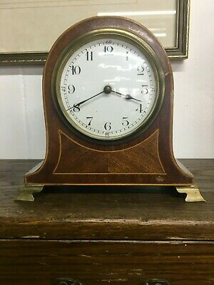 1920s French Wind Up Mantle Clock Good Working Order Mahogany Cased