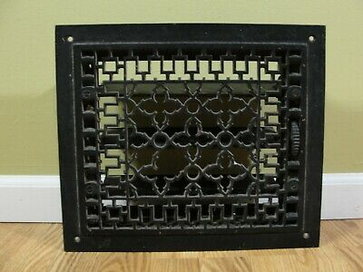 Vintage Victorian Cast Iron Floor Wall 14 x 12 Heat Grate Register w/ Louvers
