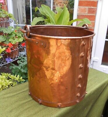 Large Vintage Arts & Crafts Style Copper Log Or Coal Bucket With Stud Detail