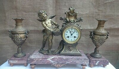Antique French Decorative Spelter And Marble Clock And Garniture Gwo