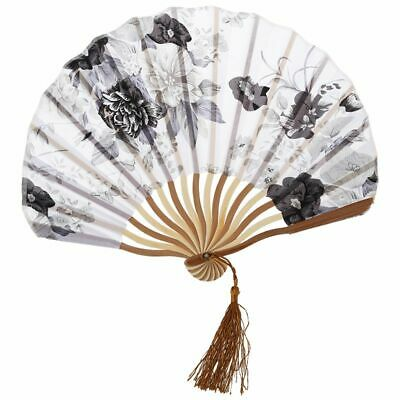 Chinese Gray Peony Blossom Fabric Bamboo Folding Dancing Hand Fan White M9Y7