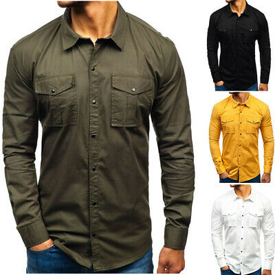 NEW Men's Military Army Work Casual Shirt Long Sleeved Pockets Dress Shirts Tops