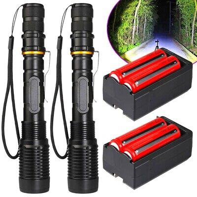 Tactical Police 990000Lumens T6 LED 5Modes 18650 Flashlight Aluminum Focus Torch