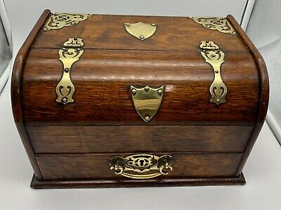 Antique Oak & Brass Smokers Cigar Box circa 1900
