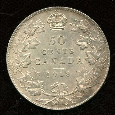 1918 Canada Fifty Cent Silver Coin