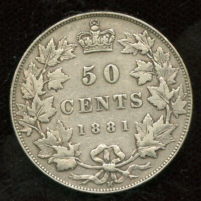 1881 H Canada Fifty Cent Silver Coin