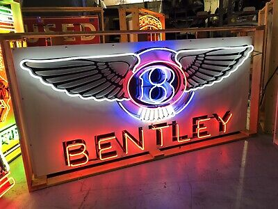 AMAZING Large BENTLEY Car Dealership HUGE NEON Wings Sign STORE DISPLAY Man Cave