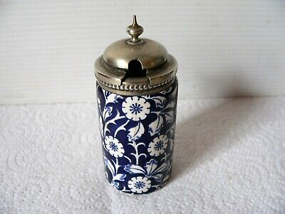Cobalt Blue & White Calico Mustard Pot - Silver Metal Lid - Patent - Old Pottery
