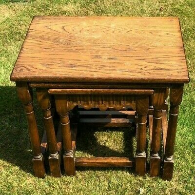 Stunning oak? vintage nest of three tables possibly old charm - fab shabby chic