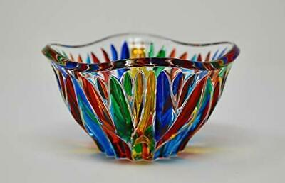Murano Glass Fire Bowl - Hand Painted In Italy