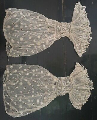 Antique Victorian / c. 1850s ? Pair Of Needle Run Lace Engageantes / Sleeves