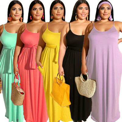 Womens Sling Long Maxi Dress Sleeveless Casual Loose Plus Size High Waist Slim
