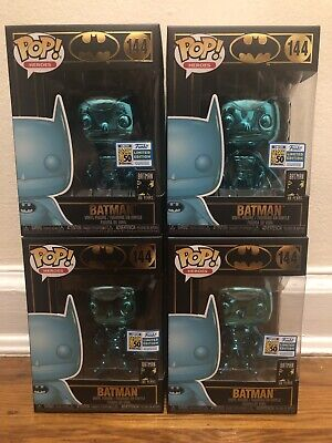Funko Pop! Heroes Batman Teal Chrome #144 2019 Sdcc Official Con Sticker Dc Rare