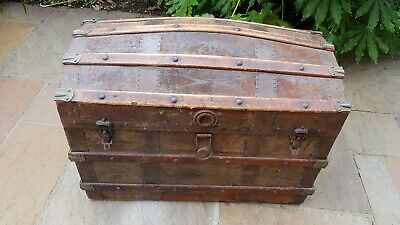 Antique Vintage Dome Top Wooden Cabin Steamer Travel Trunk Storage Chest