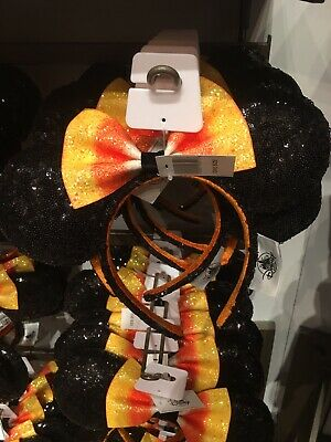 Disney Parks Minnie Mouse Ears Halloween Candy Corn With Bow Headband In Hand