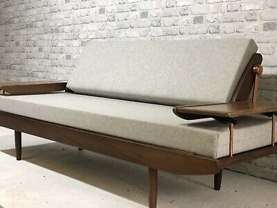Mid Century Toothill Wentworth Daybed Sofa, Fully Refurbished, Abraham Moon Wool