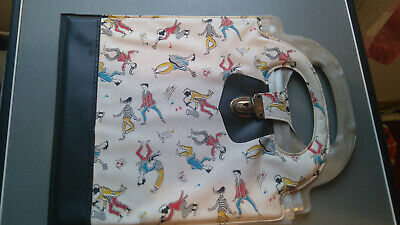 "VINTAGE 50s/60s 7"" MUSICIANS/DANCERS PRINT RECORD TOTE CASE  - EXC. CONDITION"