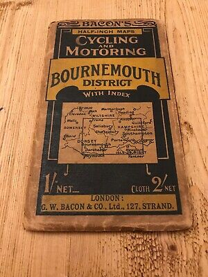 Bournemouth District - Bacons Cycling & Motoring map Circa 1950s? -Ideal Display