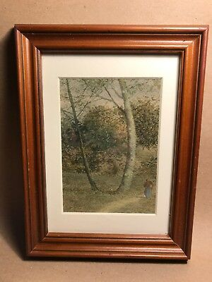 Charming Early 20th Century Watercolour Painting Of Landscape In Wood Frame