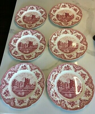 """Lot of 6 Johnson Brothers Old Britain Castles 10"""" Dinner Plates Pink Excellent"""