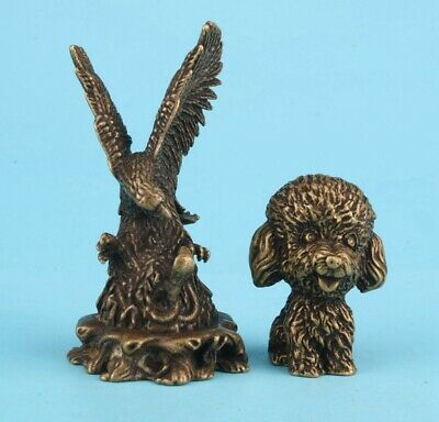 2 Rare China Bronze Hand-Carved Eagle Dog Statue Figurine Old Collection