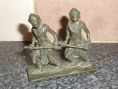 19Th Century Asian/oriental Bronze Finish Warrior Figures Vgc
