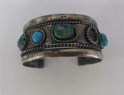 Vintage Native American Scarab Sterling Silver Heavy Wide Cuff Egyptian revival