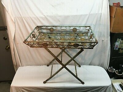 Vintage Cast Iron Accent Table Plant Stand Ornate Scrolled Heavy Folding