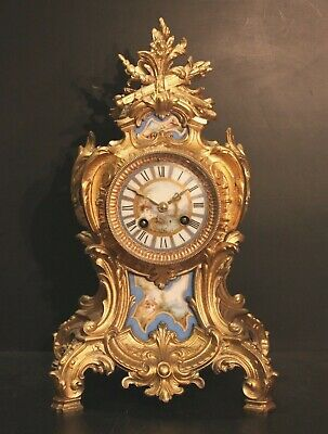 STUNNING 19th C. FRENCH GILDED MANTLE CLOCK. MOVEMENT OVER-HAULED, RUNNING WELL.