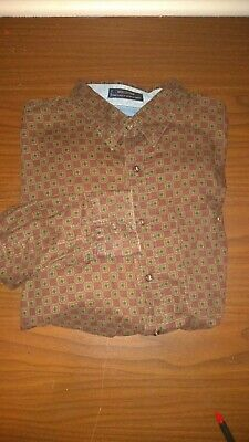 Vintage 90s Ralph Lauren Chaps Boy Scout Label Brown Clover Pattern Shirt Sz M