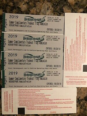 2 Hershey Park One Day Admission Tickets with preview plan-exp 9/29/19.