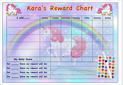 Behaviour Reward Chart Personalised Chores Pocket Money stickers UNI