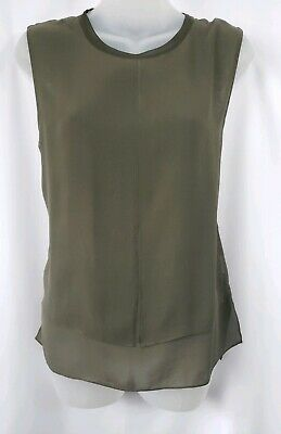 Vince. Olive Green Silk Tank Top Size Medium
