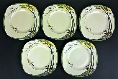 "Five 5 x Vintage Art Deco Burleigh Pan Square Lunch / Dinner Plates 9½"" / 24cm"