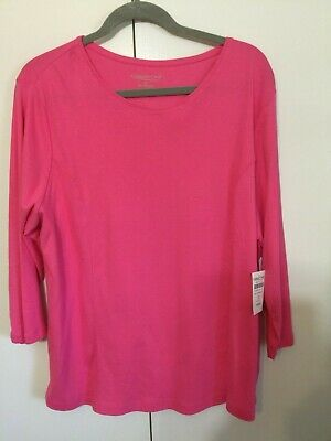 COLDWATER CREEK 2X Bright Hot Pink Knit T-Shirt Top 3/4 Slve Pima Cotton Shaped