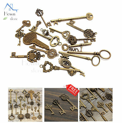 Vintage Mix Style Keys Antique Skeleton Old Lock Cabinet Gate Set DIY Lot of 18