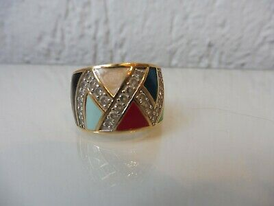 Beautiful, Old Ring, 925 Silver Gold Plated, with Stones, Sigal, Gr.62