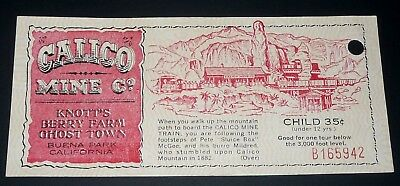 1960's Calico Mine Co. Childs Ticket Knotts Berry Farm Ghost Town Buena Park Ca