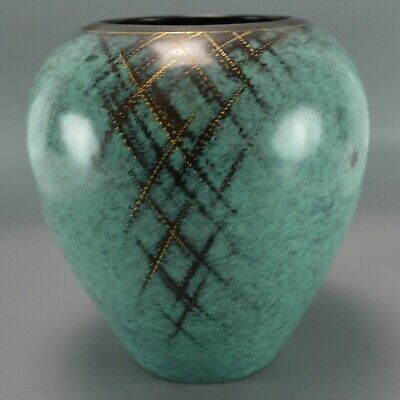 1930's WMF IKORA Vase Teal Green Gold Abstract Art Small Copper Metal Polished
