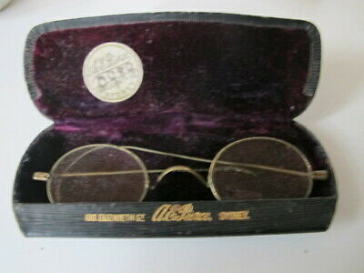 Vintage 1900s Spectacles Glasses & Case - A E Pierce, Sydney, Australia - Rare