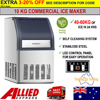 Devanti Commercial 10KG Ice Maker Stainless Steel Rapid 40-60kg Ice-cube Machine