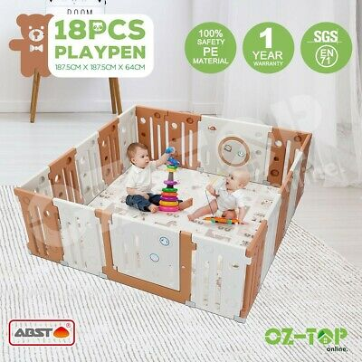 ABST Baby Playpen Interactive Kids Toddler with Safety Gates Lock 18 Sided Panel