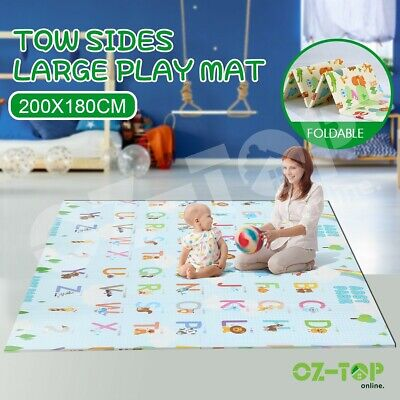 Double Sides ABST 200X180CM Baby Play Mat Crawling Playmat W/Animal & Alphabet