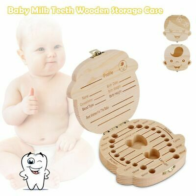 Wooden Tooth Storage Box Kids Children Baby Teeth Holder Keepsake Organizer Gift