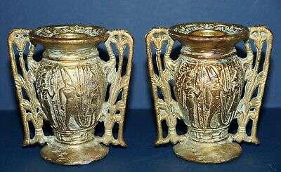 Art Nouveau ~ Deco ~ Gold Gilt ~ PAIR ~ Candlesticks ~ Marked by W.B. Mfg #756