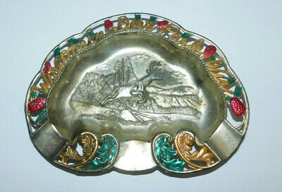 Neat Vintage Souvenir Tin Ashtray From Wisconsin Deer Park Wis Enco Japan