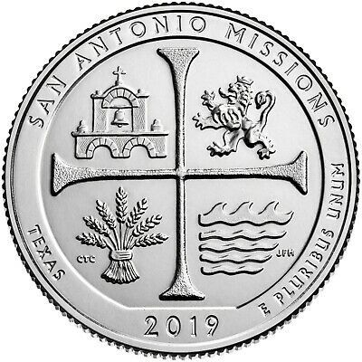 "2019 San Antonio Missions, Tx  ""Atb"" National Park Quarter P/D/S 3-Coin Set Unci"