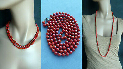 KXRS 53,5 g antique real red coral beads necklace Korallenkette Collier Koralle