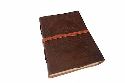 Small Real Leather Handmade Diary Journal Blank Notebook Flower Print Embossed