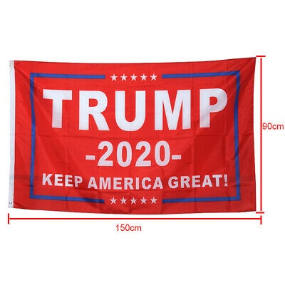 """2Pcs 3 x 5 Ft Red Trump 2020 """"Keep America Great""""  Flags"""